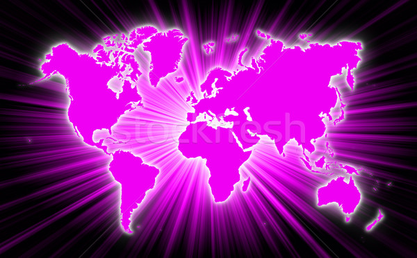 Map of world with starburst on background Stock photo © michaklootwijk