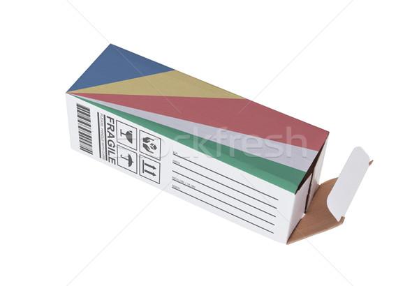 Exportar produto Seychelles papel caixa Foto stock © michaklootwijk