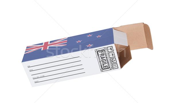 Export termék Új-Zéland kinyitott papír doboz Stock fotó © michaklootwijk