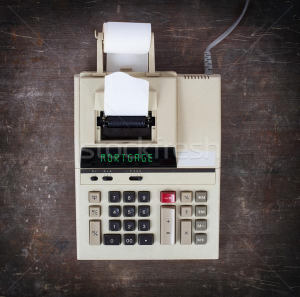 Stock fotó: öreg · számológép · jelzálog · mutat · szöveg · kirakat