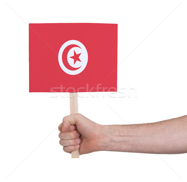 Hand holding small card - Flag of Tunisia Stock photo © michaklootwijk