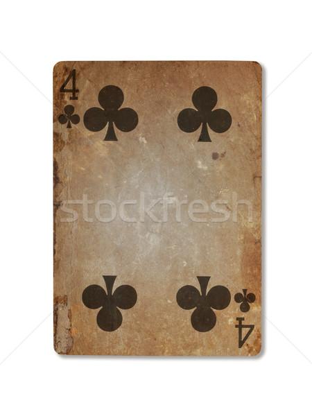 Oude spelen kaart vier geïsoleerd witte Stockfoto © michaklootwijk