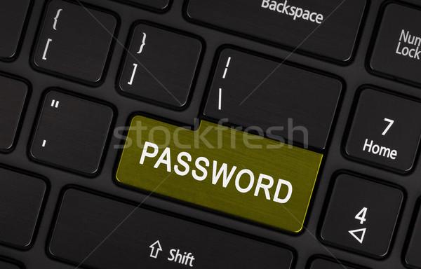 Text Kennwort Taste schwarz Laptop-Tastatur Computer Stock foto © michaklootwijk