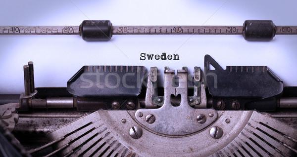öreg írógép Svédország felirat klasszikus vidék Stock fotó © michaklootwijk