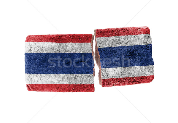 Ruw gebroken baksteen geïsoleerd witte vlag Stockfoto © michaklootwijk