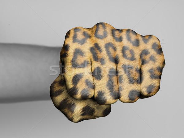 Punho homem peludo leopardo imprimir mão Foto stock © michaklootwijk