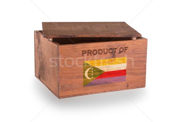 Stock fotó: Fából · készült · láda · izolált · fehér · termék · Comore-szigetek
