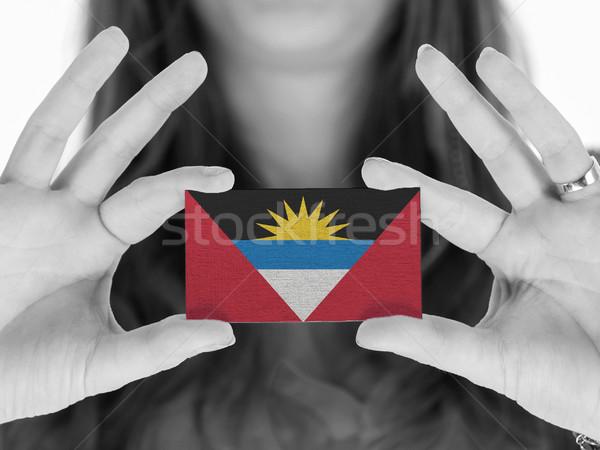 Stockfoto: Vrouw · tonen · visitekaartje · vlag · achtergrond · ruimte