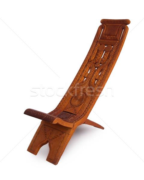 Uniek houten stoel Suriname geïsoleerd witte hout Stockfoto © michaklootwijk