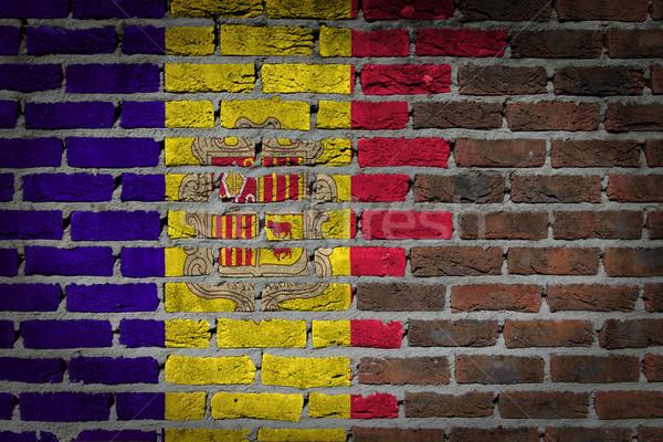 Dunkel Backsteinmauer Andorra Textur Flagge gemalt Stock foto © michaklootwijk