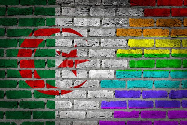 Escuro parede de tijolos direitos Argélia textura bandeira Foto stock © michaklootwijk