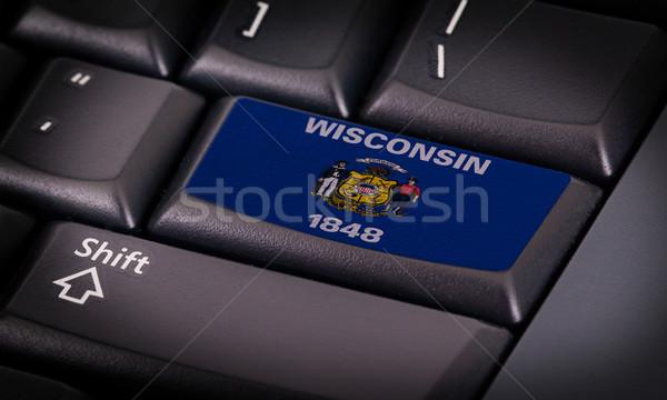 Zászló billentyűzet gomb Wisconsin terv laptop Stock fotó © michaklootwijk