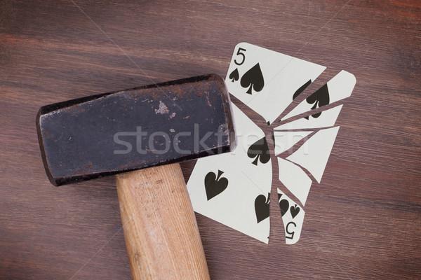 çekiç kırık kart beş maçalar bağbozumu Stok fotoğraf © michaklootwijk