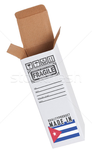 Exportar produto Cuba papel caixa Foto stock © michaklootwijk