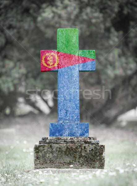 кладбище Эритрея старые выветрившийся флаг Сток-фото © michaklootwijk