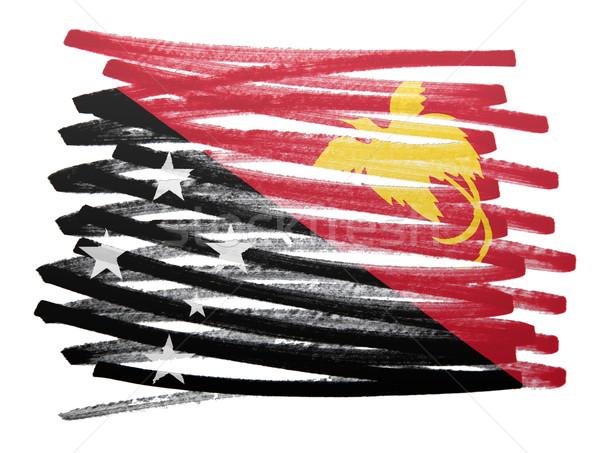 Vlag illustratie Papoea-Nieuw-Guinea pen ontwerp silhouet Stockfoto © michaklootwijk