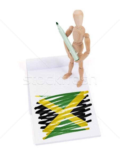Houten etalagepop tekening Jamaica vlag papier Stockfoto © michaklootwijk