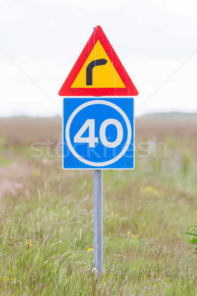 Curve with advisory speed limit Stock photo © michaklootwijk