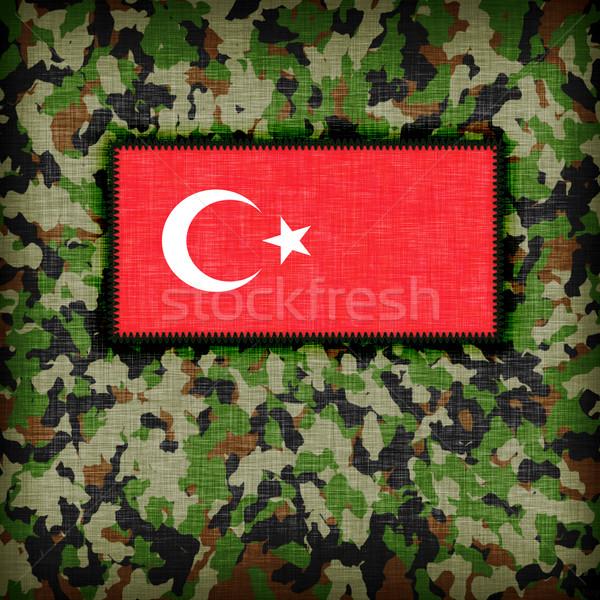Tarnung einheitliche Türkei Flagge abstrakten grünen Stock foto © michaklootwijk