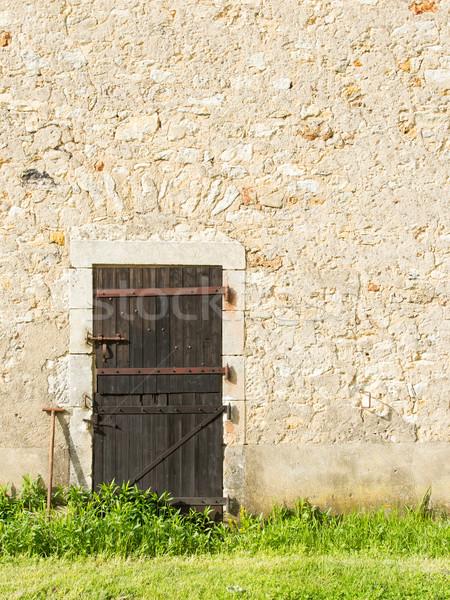 Stok fotoğraf: Eski · ahşap · kapı · taş · duvar · doku · ahşap