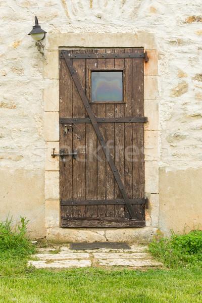 Stock fotó: öreg · fából · készült · ajtó · kőfal · ház · textúra