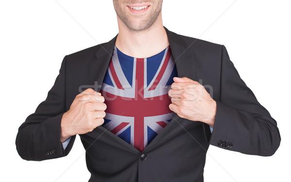 Zakenman opening pak shirt vlag Verenigd Koninkrijk Stockfoto © michaklootwijk