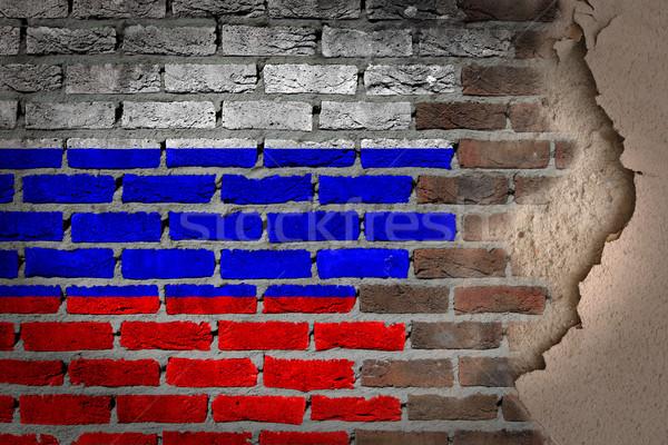 Oscuro pared de ladrillo yeso Rusia textura bandera Foto stock © michaklootwijk