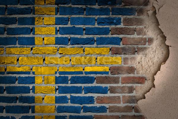 Oscuro pared de ladrillo yeso Suecia textura bandera Foto stock © michaklootwijk