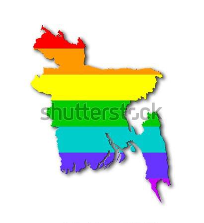 Arco-íris bandeira padrão Albânia mapa homossexual Foto stock © michaklootwijk