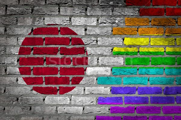 Sötét téglafal jogok Japán textúra zászló Stock fotó © michaklootwijk