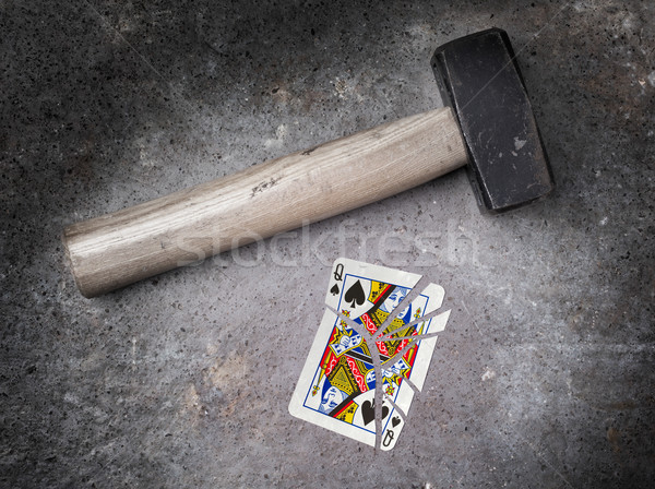 Hammer with a broken card, queen of spades Stock photo © michaklootwijk