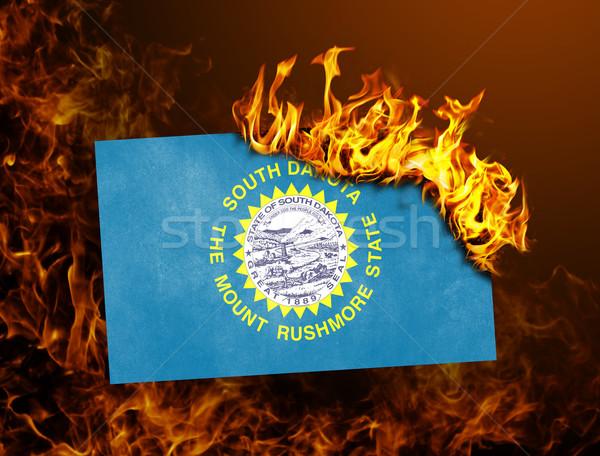 Vlag brandend South Dakota oorlog crisis brand Stockfoto © michaklootwijk