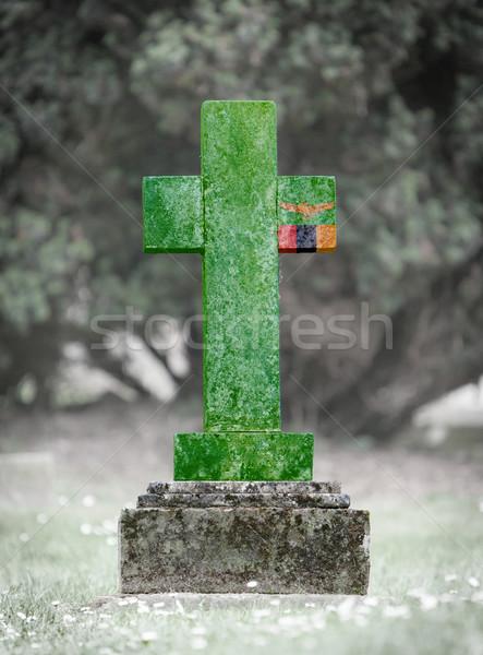 кладбище Замбия старые выветрившийся флаг Сток-фото © michaklootwijk