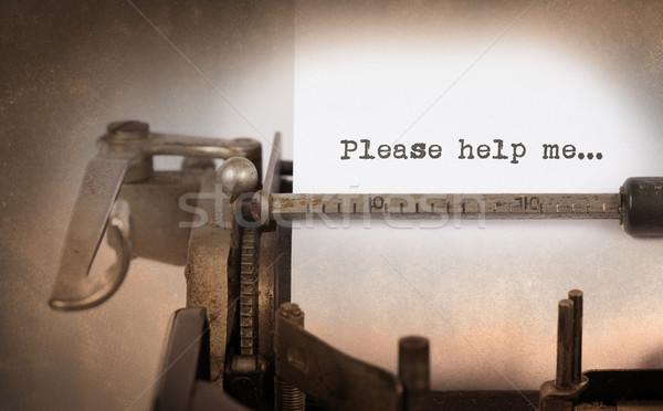 ストックフォト: ヴィンテージ · 碑文 · 古い · タイプライター · ヘルプ · 私に