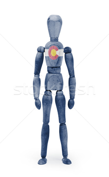 Wood figure mannequin with US state flag bodypaint - Colorado Stock photo © michaklootwijk
