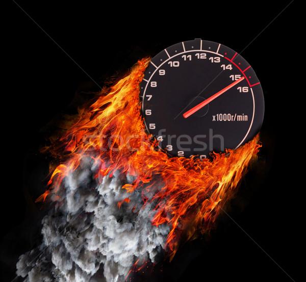 Hızlandırmak iz yangın duman imzalamak motosiklet Stok fotoğraf © michaklootwijk