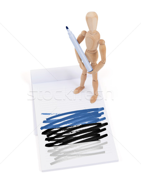 Wooden mannequin made a drawing - Estonia Stock photo © michaklootwijk