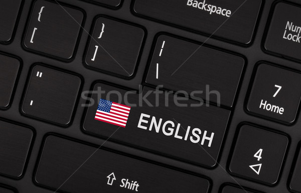 Enter button with flag USA - Concept of language Stock photo © michaklootwijk