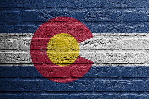Stok fotoğraf: Tuğla · duvar · boyama · bayrak · Colorado · yalıtılmış · tuğla