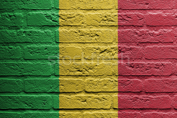 Brick wall with a painting of a flag, Mali Stock photo © michaklootwijk