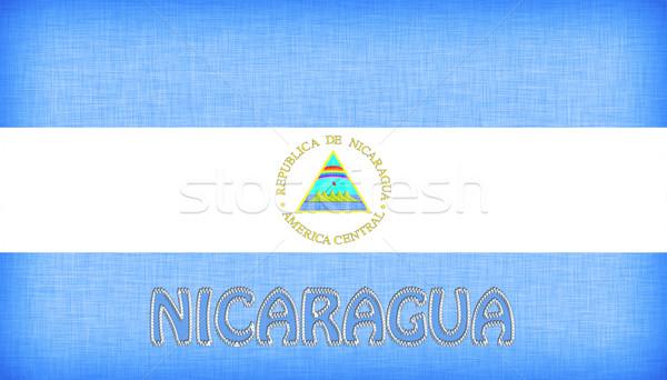 Vászon zászló Nicaragua levelek textúra grafikus Stock fotó © michaklootwijk