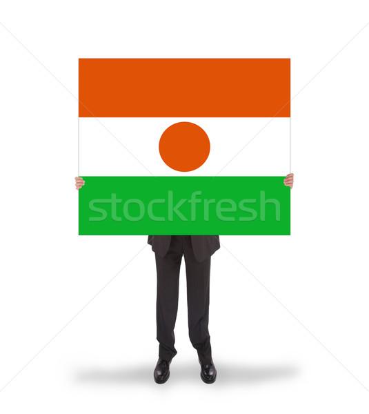 Imprenditore grande carta bandiera Niger Foto d'archivio © michaklootwijk