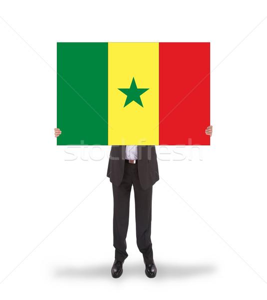 Biznesmen duży karty banderą Senegal Zdjęcia stock © michaklootwijk
