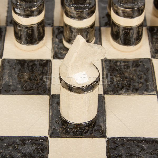 Unique handmade chess set (pottery), isolated Stock photo © michaklootwijk