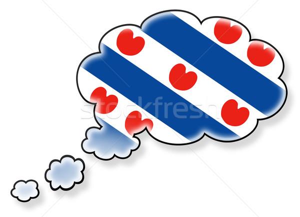 Vlag wolk geïsoleerd witte kunst schaduw Stockfoto © michaklootwijk