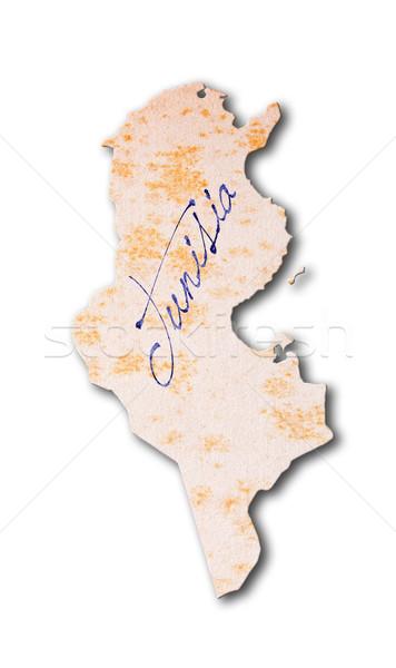 古い紙 手書き チュニジア 青 インク 紙 ストックフォト © michaklootwijk