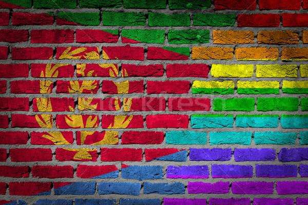 Sötét téglafal jogok Eritrea textúra zászló Stock fotó © michaklootwijk