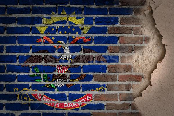 Donkere muur gips North Dakota textuur vlag Stockfoto © michaklootwijk