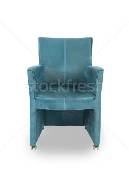 Blauw leder eetkamer stoel geïsoleerd witte Stockfoto © michaklootwijk