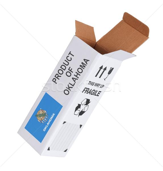 Exporter produit Oklahoma papier boîte Photo stock © michaklootwijk